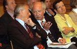 LH Herbert Sausgruber, Sozialwissenschaftler Bernd Marin und LR Greti Schmid.