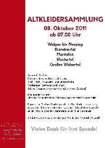 Die jährliche Altkleidersammlung findet heuer am 8. Oktober statt.