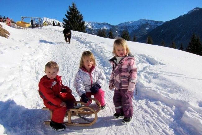 Alexander, Lilli und Anna hatten viel Spaß beim Rodeln