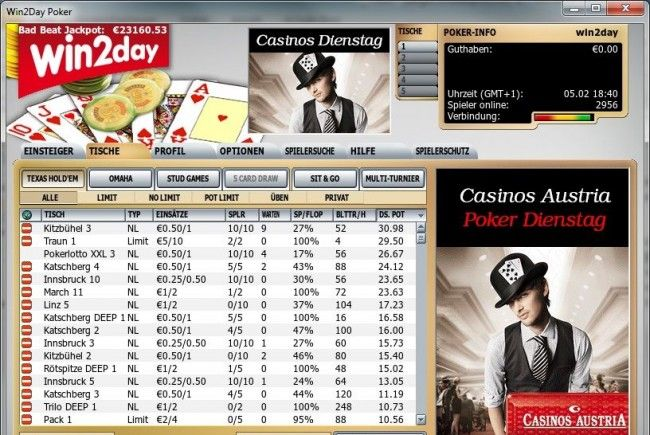 "Screenshot ""Der Casinos Austria Poker Dienstag auf win2day"""