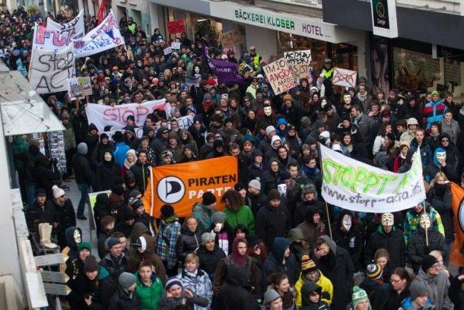 Rund 1000 ACTA-Gegner erhoben am Samstag in Bregenz ihre Stimme.