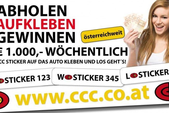 CCC-Aufkleberaktion – € 1.000,- wöchentlich!