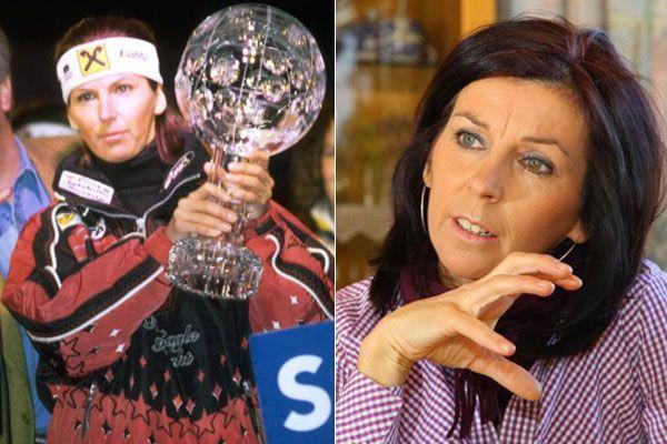 Anita Wachter beim Gewinn des Gesamtweltcups 1996 und im Februar 2012 (v.l.)