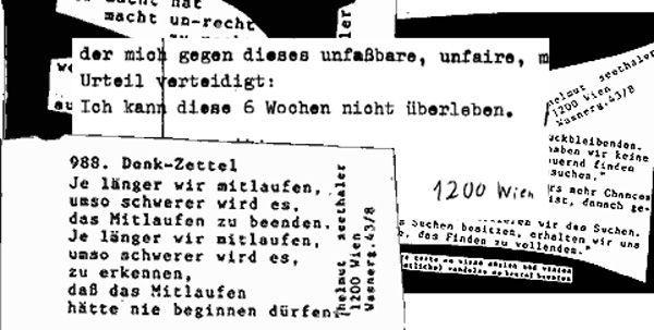 Eine Million solcher Zettel hat Helmut Seethaler seit 1976 verteilt