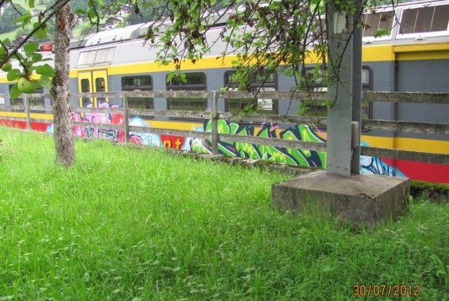 Triebwagengarnitur mit Graffiti besprüht.
