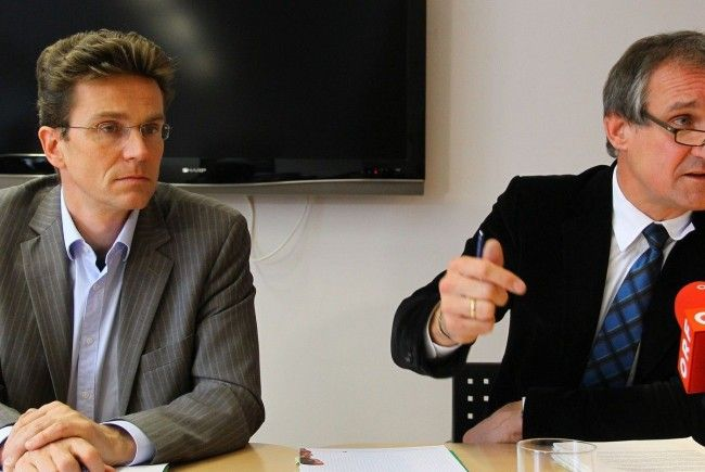 Stadtmarketing-Bregenz-Leiter Eric Thiel (l.) mit Bürgermeister Markus Linhart.