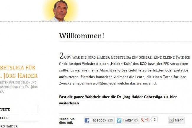 """Betreiber der Website wollte """"Haider-Kult"""" verspotten."""