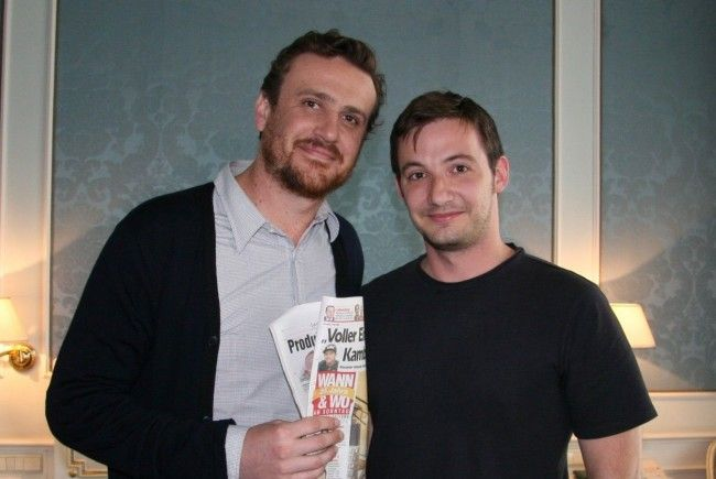 Jason Segel mit Wann&Wo-Redakteur Mathias Bertsch.
