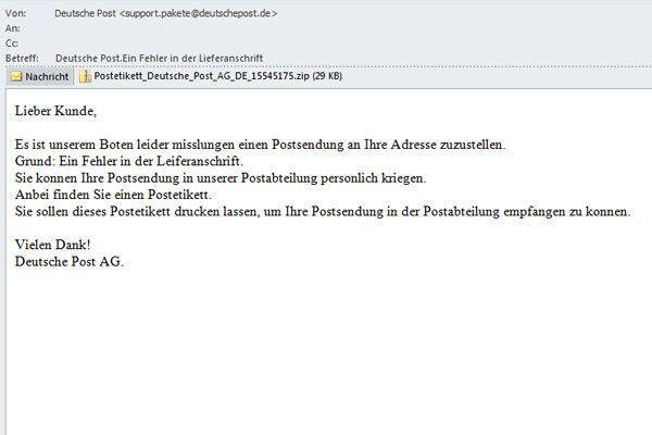 """Trojaner-Angriff mit Betreff """"Deutsche Post.Ein Fehler in der Lieferanschrift""""."""