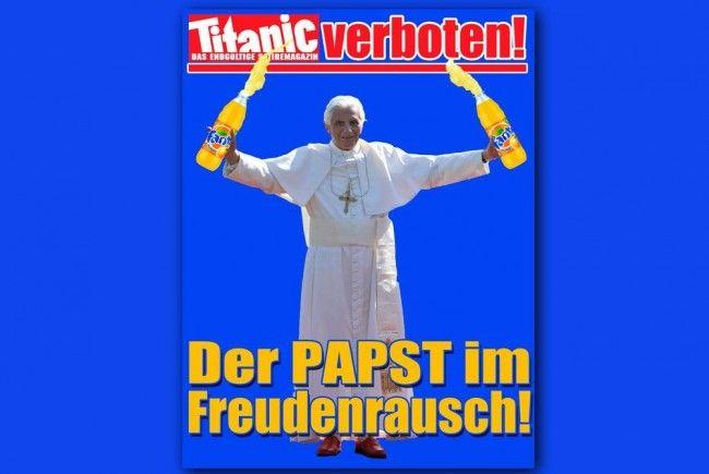 """Auf der """"Titanic""""-Homepage ist das Bild inzwischen geschwärzt, auf der Startseite ist ein neue Fotomontage, auf der """"der Papst im Freudenrausch"""" mit zwei Limonadeflaschen zu sehen ist."""