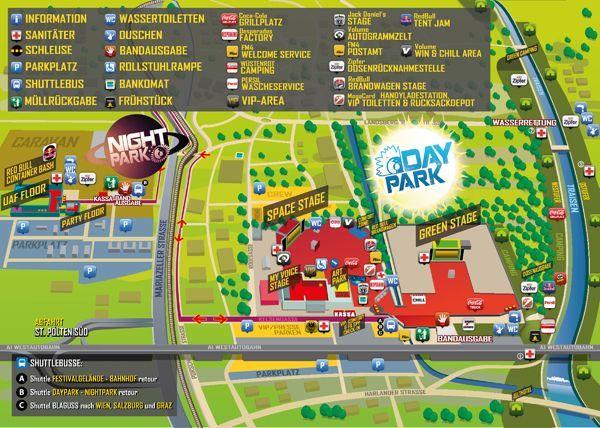 Der Plan für das Frequency Festival in St. Pölten im Green Park