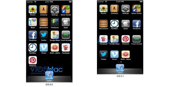 iOS6.0 (l.) zeigt deutlich eine zusätzliche Zeile für App-Icons im Vergleich zu iOS5.1(r.).