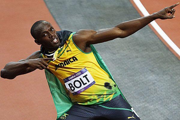 Usain Bolt hat vor auch nach dem Finale über 200 Meter seine Jubelpose zu zeigen.