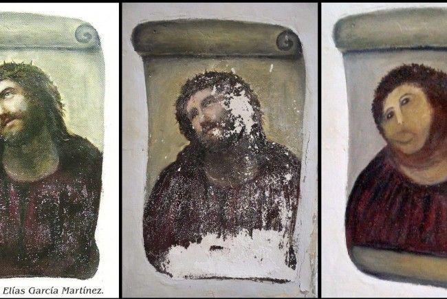 """Nicht mehr ganz, wie es war: """"Aufgefrischtes"""" Fresko in Spanien."""