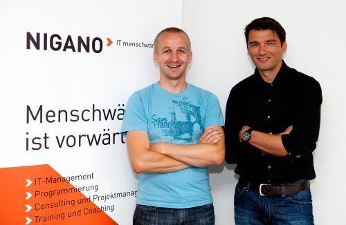 Das Geschäftsführungsteam von NIGANO IT: Stefan Meusburger und Mario Sammer