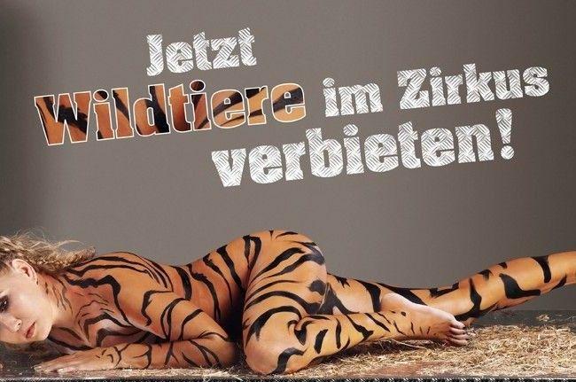 Voller Körpereinsatz: Nova Meierhenrich wird für Peta zum Tiger.