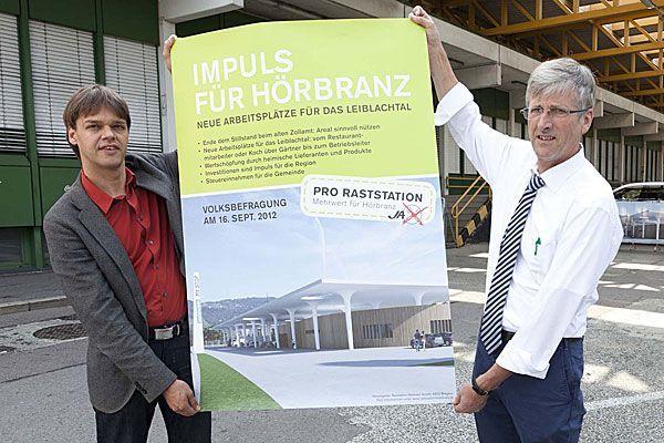 Joachim Nägele, Sprecher der Raststation Hörbranz GmbH, und Werner Schindele, Geschäftsführer der Raststation Hörbranz GmbH, v.l.n.r.