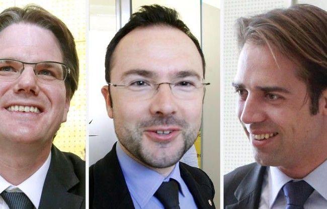 Der seit Jänner 2012 im Amt befindliche Landesrat Achill Rumpold (l.), Klubobmann Stephan Tauschitz (r.) und Landesgeschäftsführer Thomas Goritschnig treten zurück