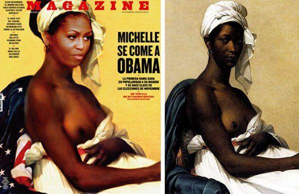 """Aufregung um """"barbusige"""" Michelle Obama: links das Magazin-Cover, rechts das Original-Bild"""