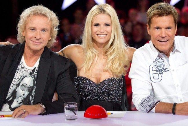 """Die Jury-Mitglieder der RTL-Castingshow """"Das Supertalent"""", Thomas Gottschalk, Michelle Hunziker und Dieter Bohlen (v.l.)"""