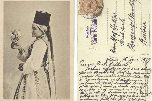Postkarte von Rudolf Wacker an Max Haller vom 15. Juni 1924 aus Sibiu, Rumänien.