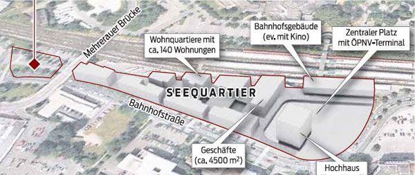 Bregenzer Seequartier bringt Wohnen, Büros, Bahnhof - und vielleicht auch ein Cineplexx.
