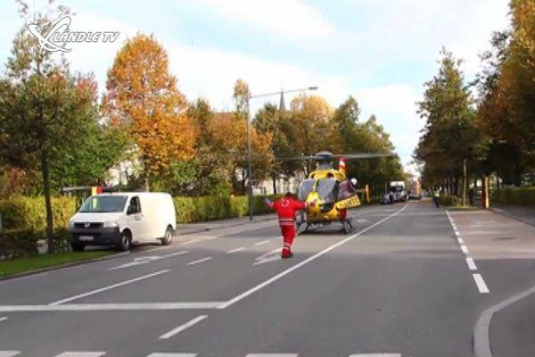 Der Notarzthubschrauber musste auf der Dornbirner Stadtstraße landen