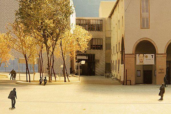 Ein Modell zeigt den Kornmarktplatz wie er schon im Mai 2013 aussehen soll.