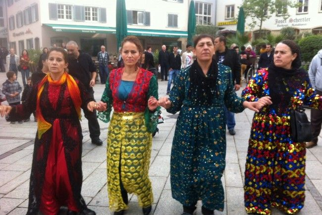 Kundgebung für Abdullah Öcalan am Dornbirner Marktplatz.