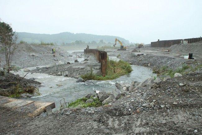 Zur Verlegung des Spiersbachs in sein neues Bachbett und zur Bergung der Fische aus dem alten Bachbett, das jetzt für die Bauarbeiten aufgeschüttet wird.