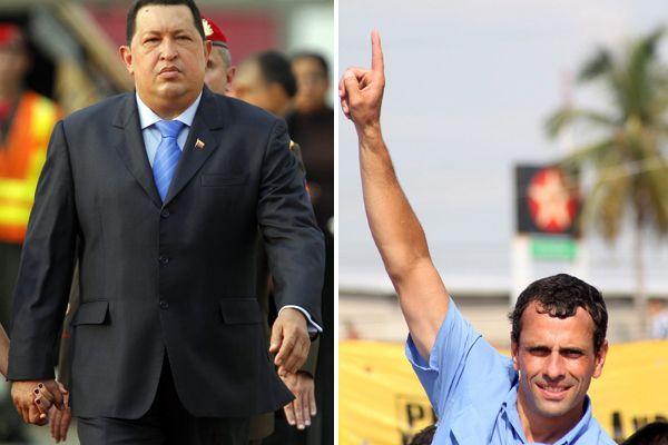 Venezuelas Präsident Hugo Chavez und Herausforderer Henrique Capriles Radonski.