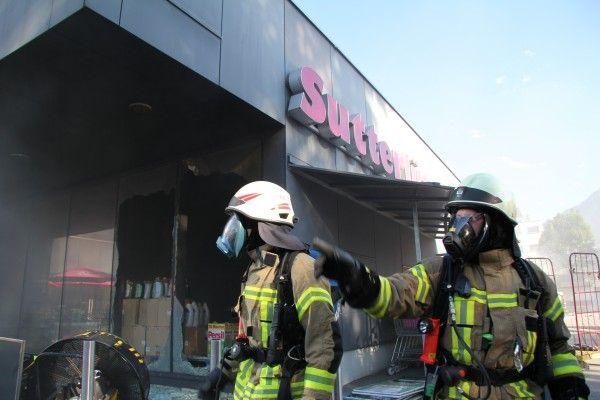 """Der Großbrand in der Dornbirner Sutterlüty-Filiale """"Kehlerpark"""" hat einen Schaden von mehreren Millionen verursacht."""