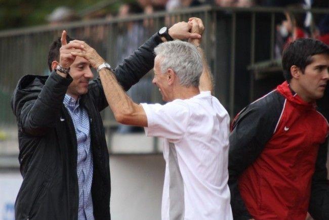Bregenz-Erfolgscoach Mladen Posavec mit Betreuer Roland Schlattinger wollen am Samstag jubeln.