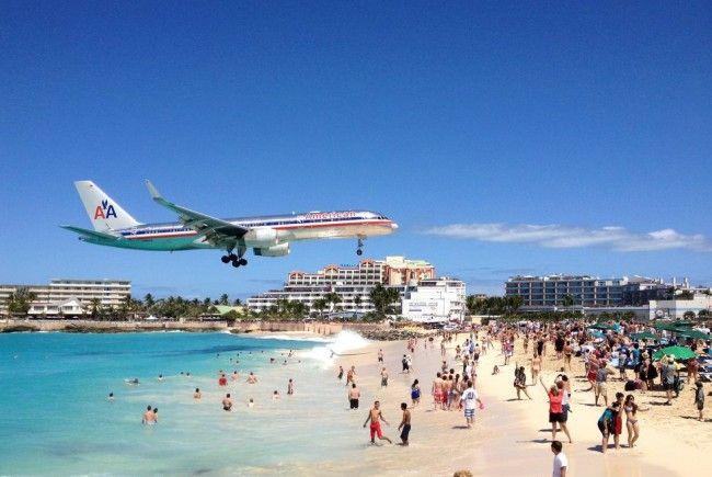 Princess Juliana International Airport auf St. Maarten in der Karibik.