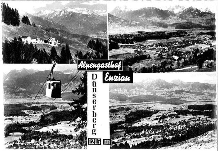 Alte Postkarte: Alpengasthof Enzian, Dünserberg.