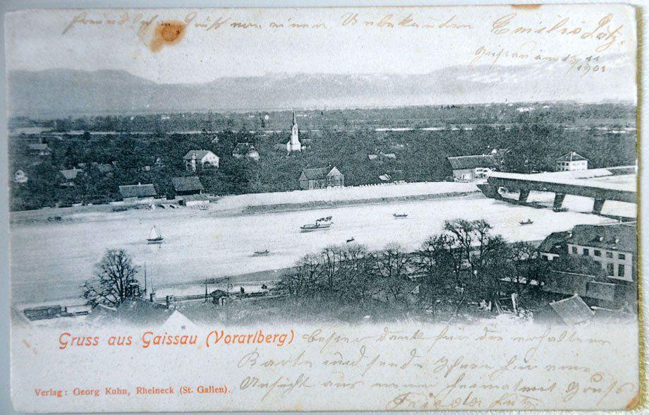 Gaißau mit dem damals noch breiten Alten Rhein. (Foto: Vorarlberger Landesbibliothek)
