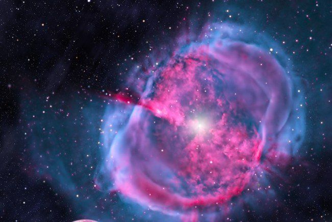 Diese künstlerische Darstellung zeigt einen erdähnlichen Planeten, der einen entstehenden Stern umkreist.