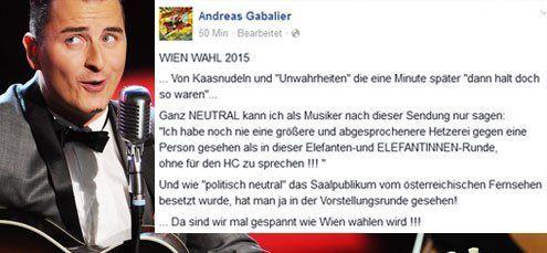 "Andreas Gabalier ärgert sich über ""Hetzerei"" gegen FP-Chef Strache"
