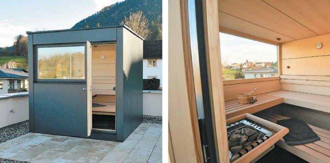 au ensauna auf der terrasse vol at. Black Bedroom Furniture Sets. Home Design Ideas