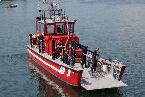Motorboot im Harder Hafen gesunken