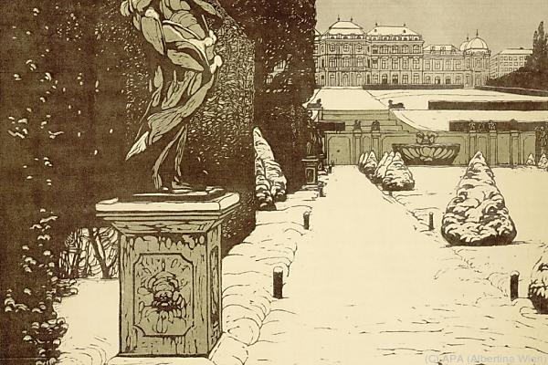 Belvederegarten im Winter, um 1905