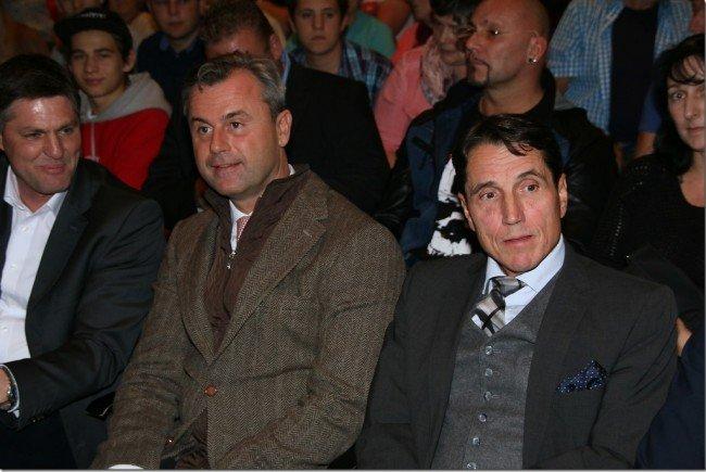 Daniel Allgäuer und Reinhard Bösch mit Norbert Hofer (Mitte) in Rankweil zu Gast