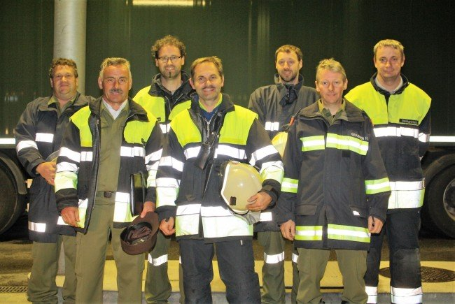 Kommandanten der Vorderwälder Feuerwehren mit Abschnittskommandant Max Bereuter.