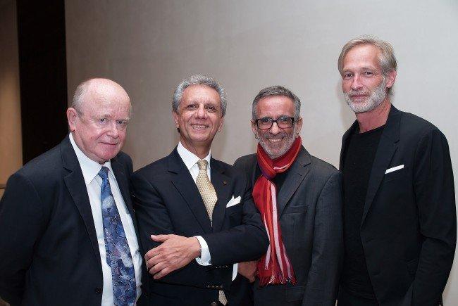 Schauspieler Mario Plaz, Musiker und Komponist Bijan Khadem – Missagh, Organisator Wafa Reyhani, sowie Architekt Michael Ohneberg bei der Veranstaltung im vorarlberg museum