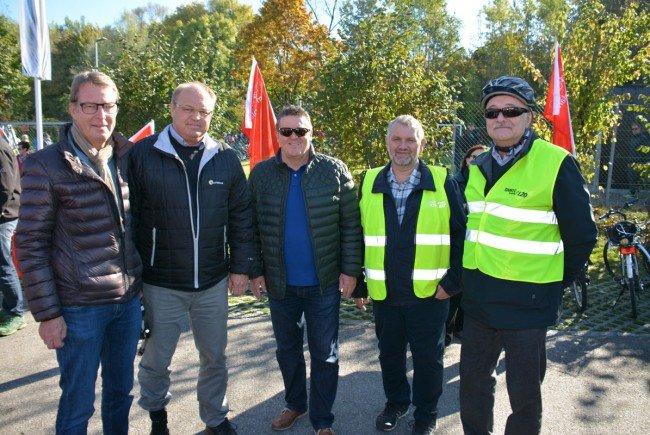 Dabei: Manfred Flatz, Elmar Rhomberg, Christian Natter, GR Robert Hasler (Wolfurt) und Hans Bertsch..