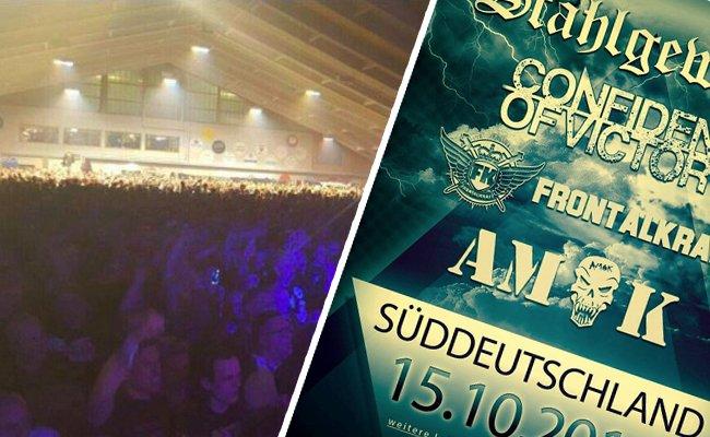 In der Tennishalle in Unterwasser versammelten sich 5.000 Neonazis zu einem Konzert.