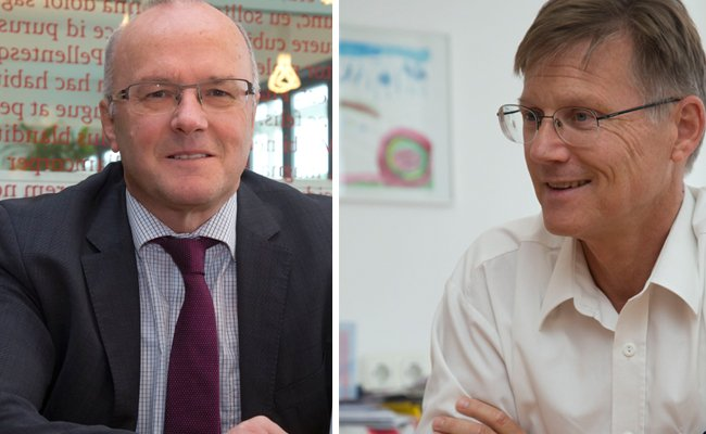 Gutachter-Sprecher Reinhard haller (li) wirft der Ärtzekammer mangelnde Unterstützung vor. Deren Präsident Michael Jonas (re) weist die Kritik als unfair zurück.