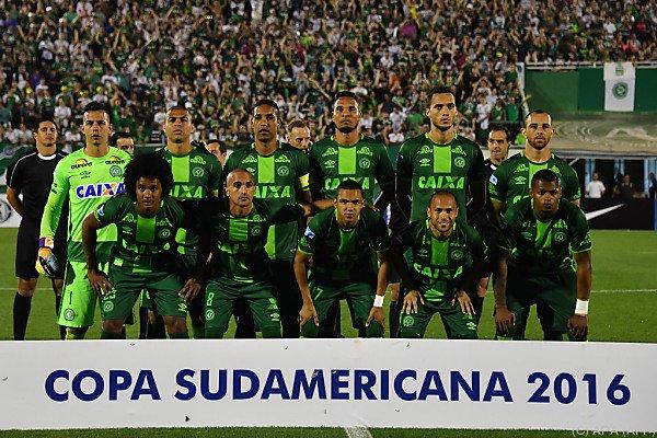 Das Team von Chapecoense bei einem Copa-Sudamericana-Einsatz