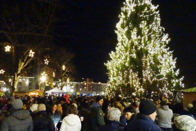 Der Hohenemser Christbaum auf dem Schlossplatz ist mit über 30.000 LED-Leuchten bestückt.