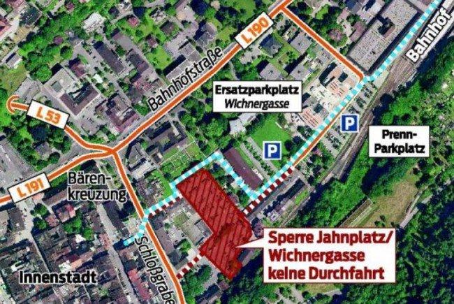 Verkehrsbehinderungen und Umleitungen wegen Bauarbeiten am Quartier Jahnplatz.